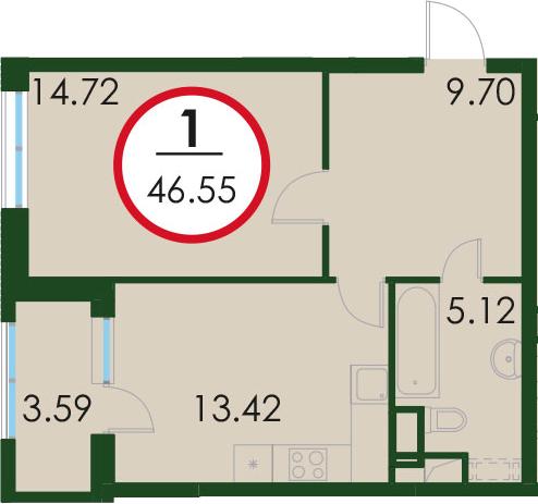 1-к.кв, 50.26 м²