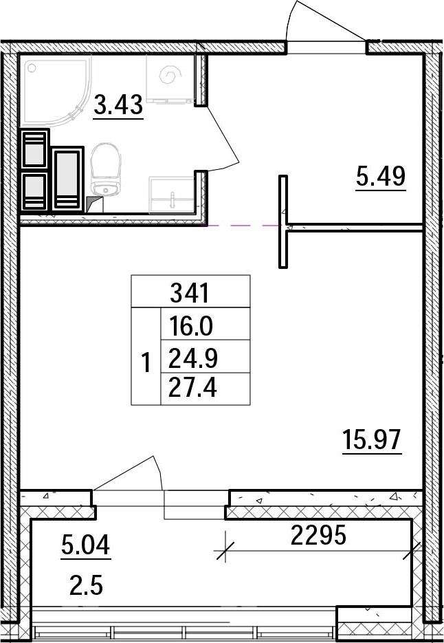 Студия, 27.39 м²– 2
