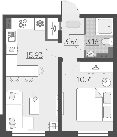 2Е-комнатная, 33.34 м²– 2