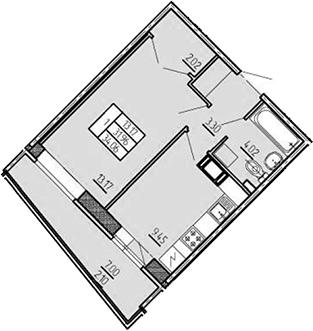 1-комнатная, 34.06 м²– 2