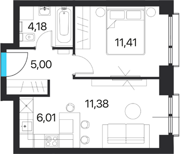 2Е-комнатная квартира, 37.98 м², 14 этаж – Планировка