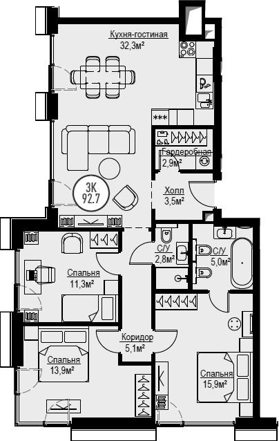 4Е-комнатная, 92.7 м²– 2