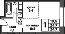 Студия, 34.7 м²– 2