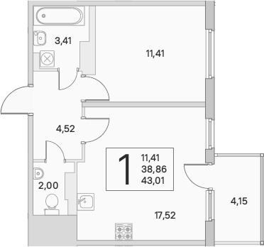 2Е-комнатная, 40.11 м²– 2