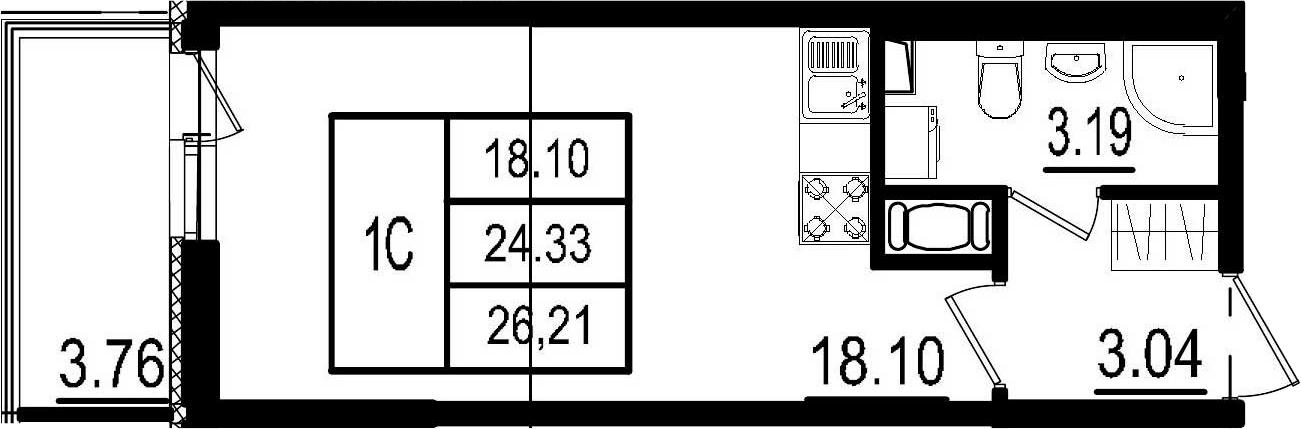 Студия, 24.33 м², 8 этаж