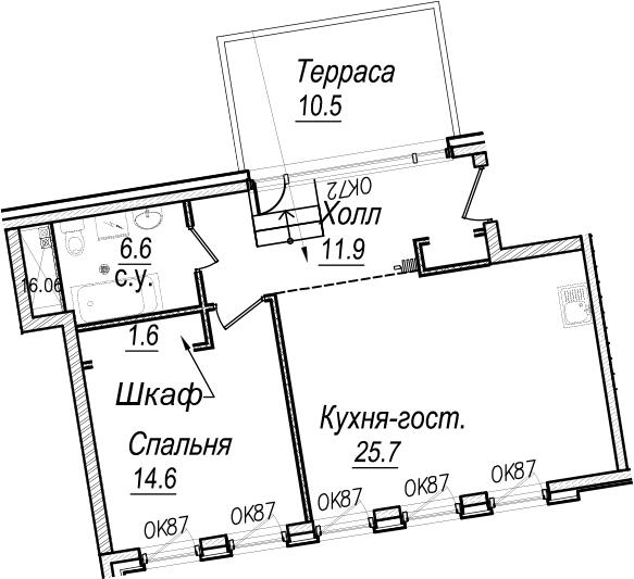 2Е-комнатная, 63.6 м²– 2