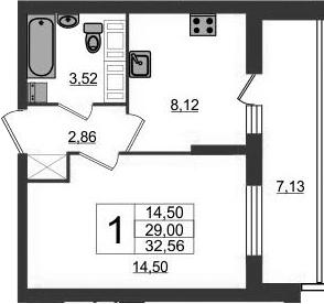 1-к.кв, 36.13 м²