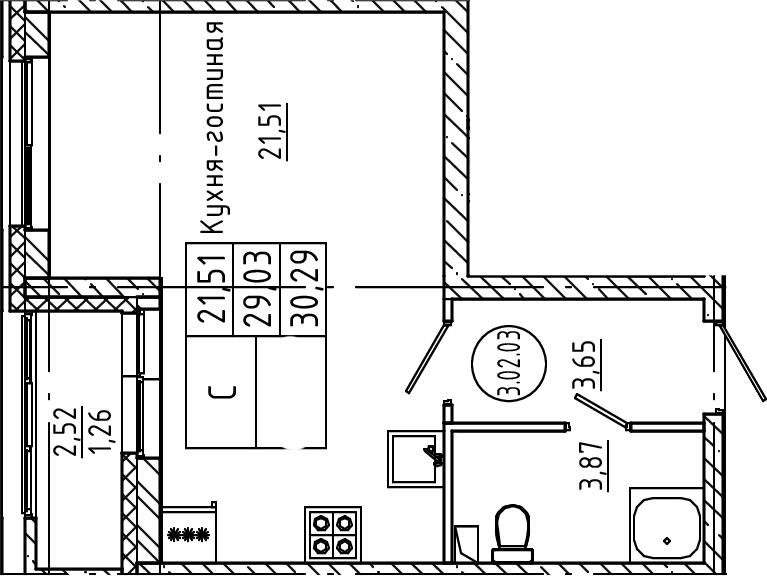 Студия, 30.29 м²
