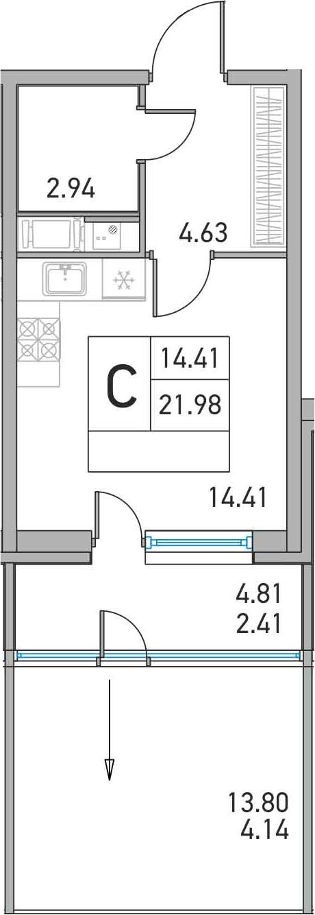 Студия, 21.98 м²