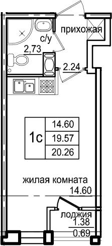 Студия, 20.26 м², 3 этаж