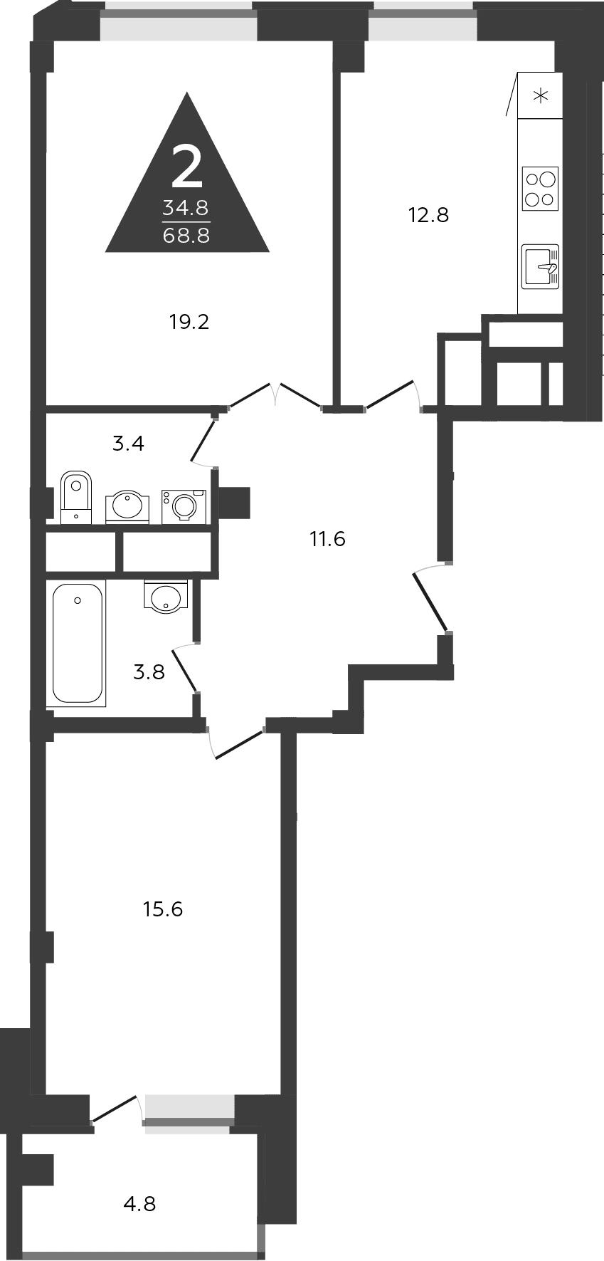 2-комнатная, 68.8 м²– 2