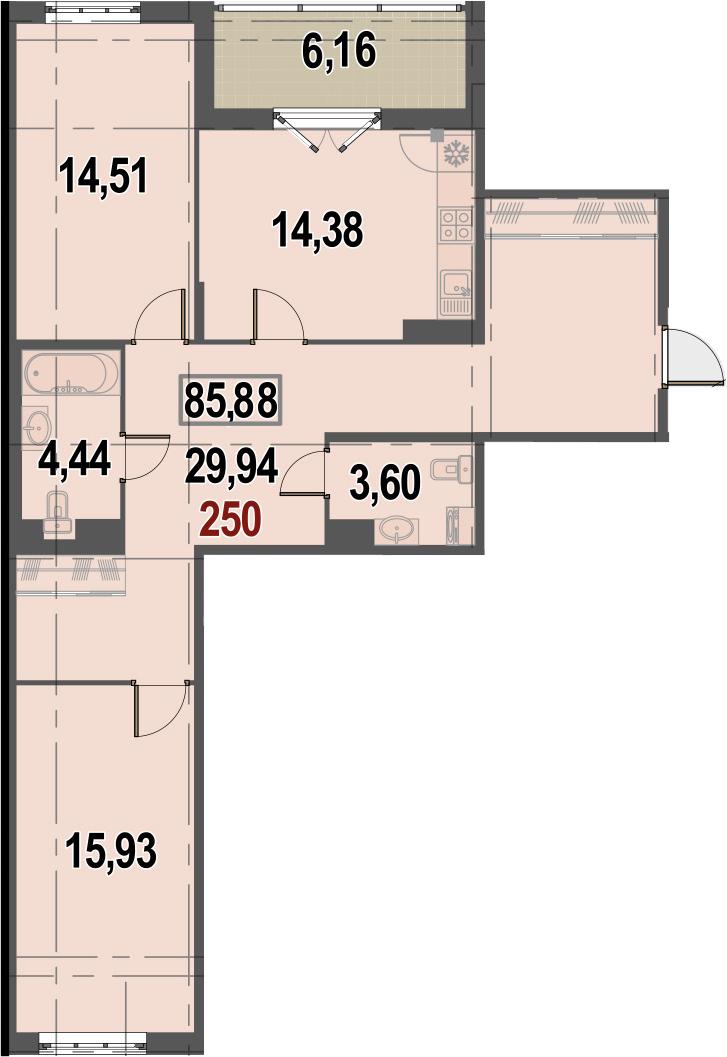 2-к.кв, 85.88 м²