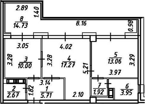 2-к.кв, 69.31 м²