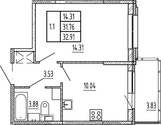 1-к.кв, 31.76 м²