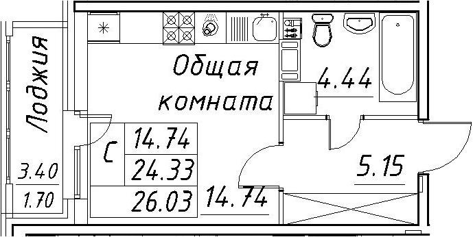 Студия, 27.73 м²