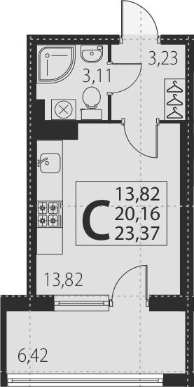 Студия, 26.58 м²