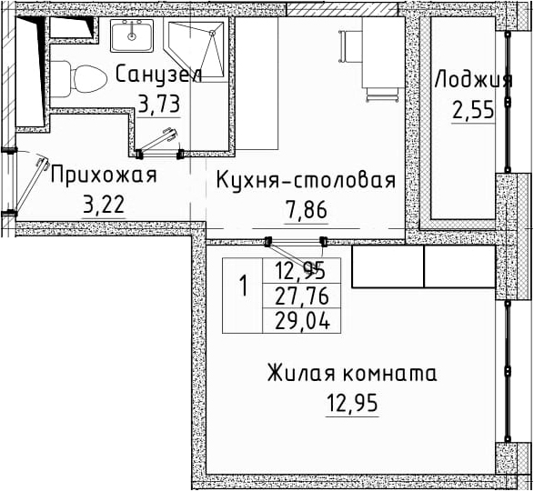 1-комнатная квартира, 29.04 м², 12 этаж – Планировка