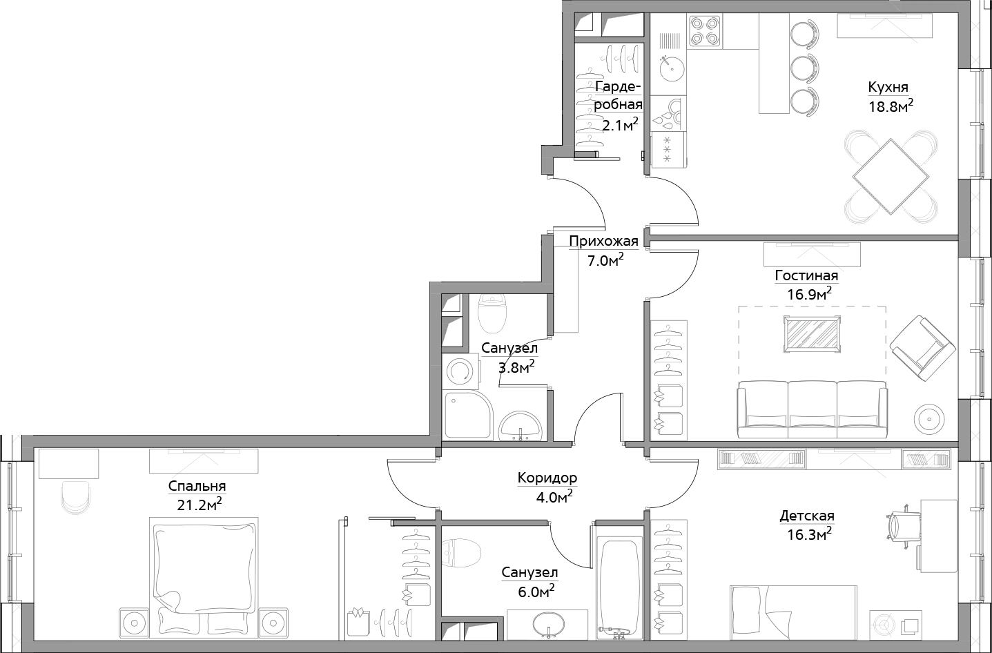 4Е-к.кв, 96.1 м², 6 этаж