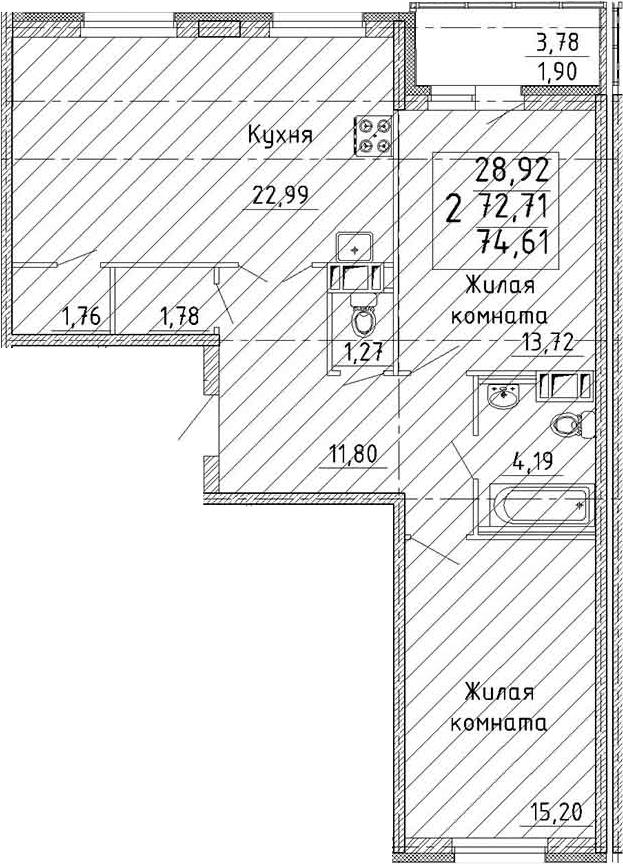 3Е-комнатная, 74.61 м²– 2