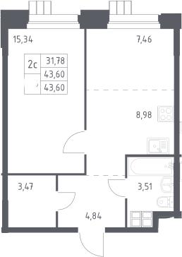 2Е-к.кв, 43.6 м², 13 этаж