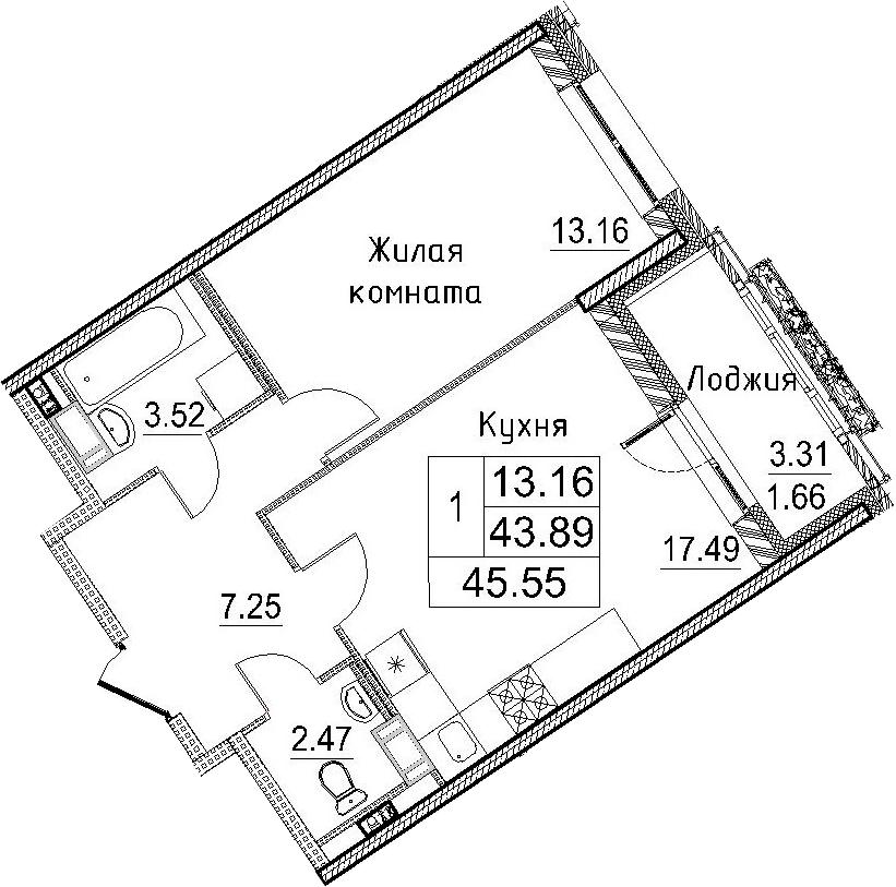 2Е-к.кв, 45.55 м²