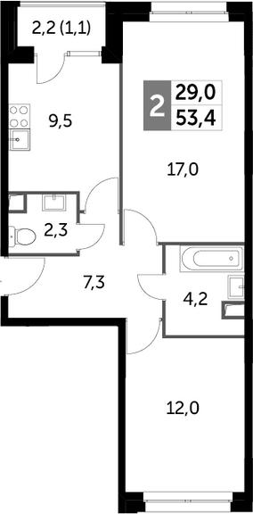 2-комнатная, 53.4 м²– 2