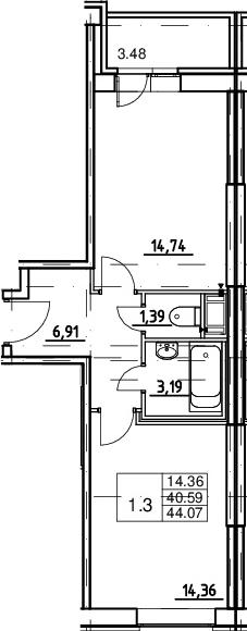 1-комнатная квартира, 40.59 м², 10 этаж – Планировка