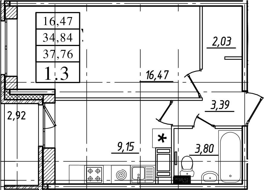 1-комнатная квартира, 34.84 м², 5 этаж – Планировка