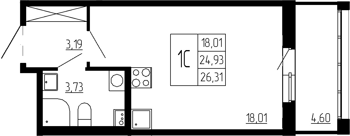 Студия, 24.93 м²– 2