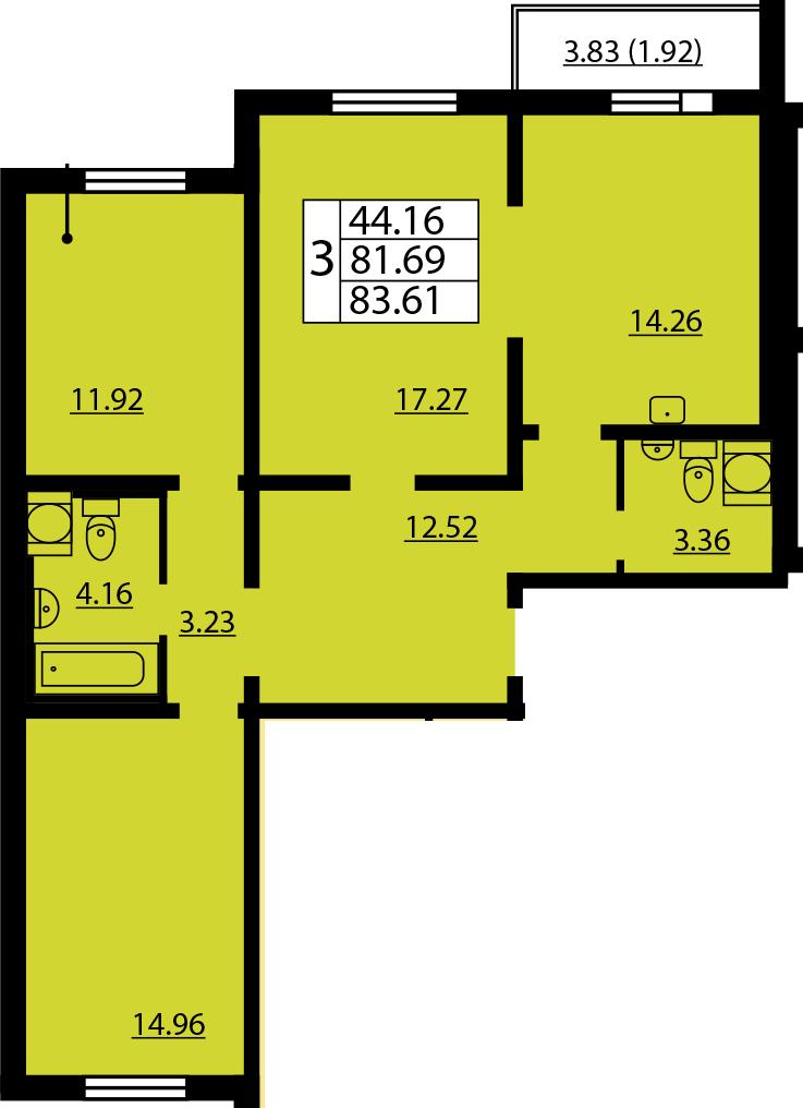 3-к.кв, 85.53 м²
