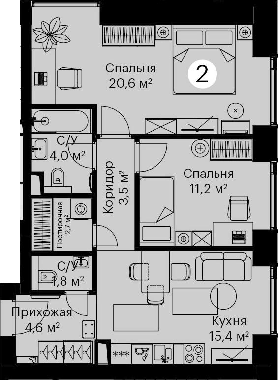 3-к.кв (евро), 63.8 м²