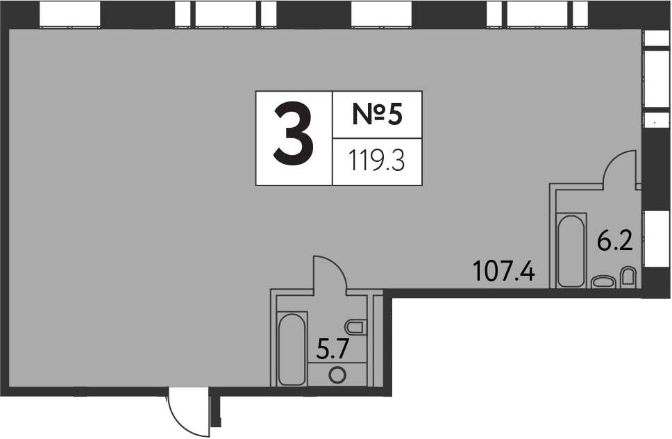 3-к.кв, 119.3 м²