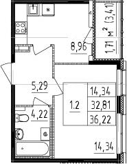 1-к.кв, 32.81 м²