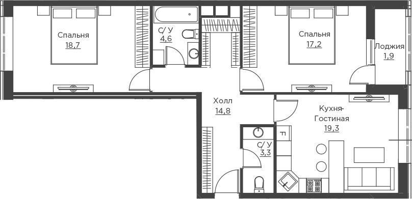 3Е-к.кв, 79.8 м²