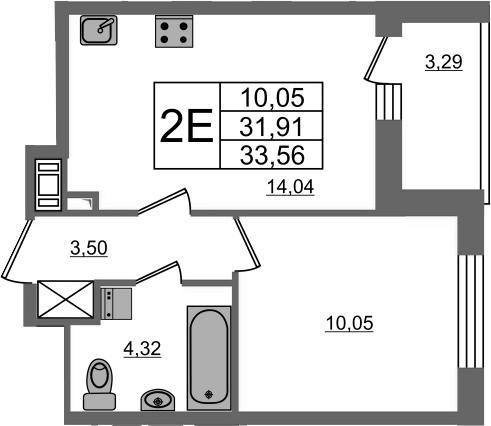 2Е-комнатная, 31.91 м²– 2