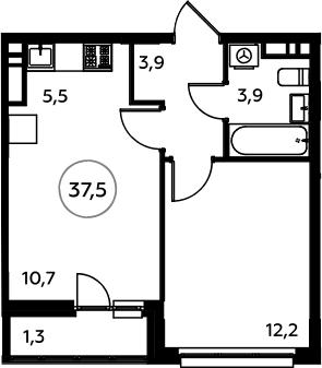 2Е-к.кв, 37.5 м², 13 этаж