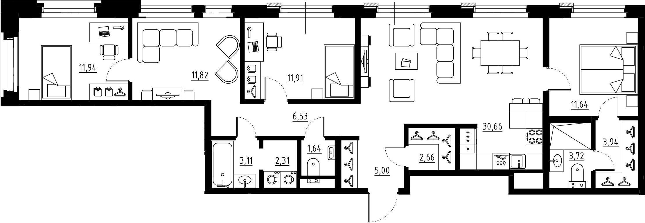 5Е-комнатная, 106.88 м²– 2