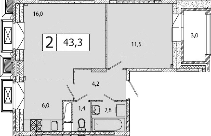 2-к.кв (евро), 44.8 м²
