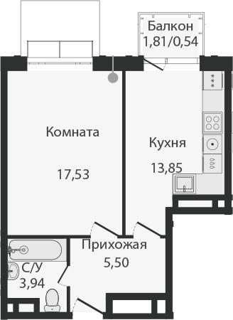 1-комнатная, 41.36 м²– 2
