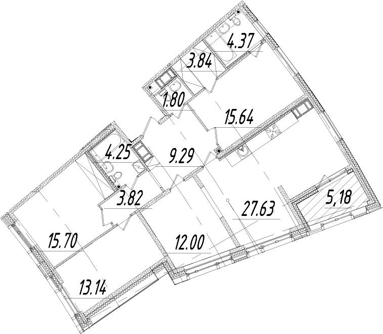 5Е-к.кв, 114.07 м², 10 этаж