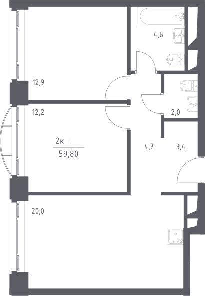 3Е-к.кв, 59.8 м², 12 этаж