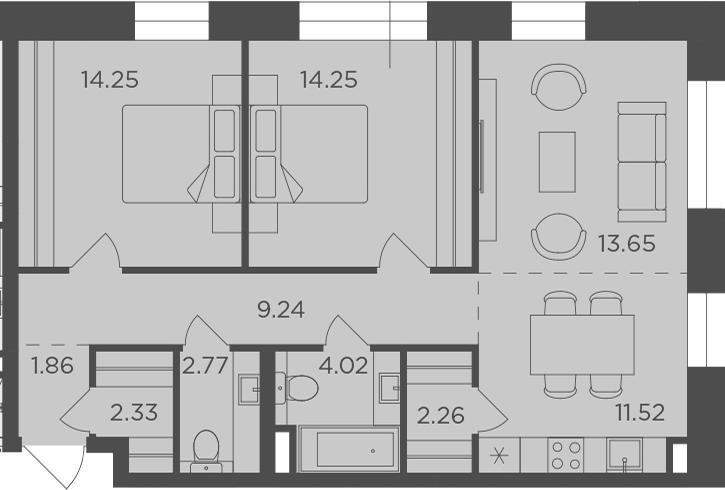 3Е-к.кв, 76.15 м², 3 этаж