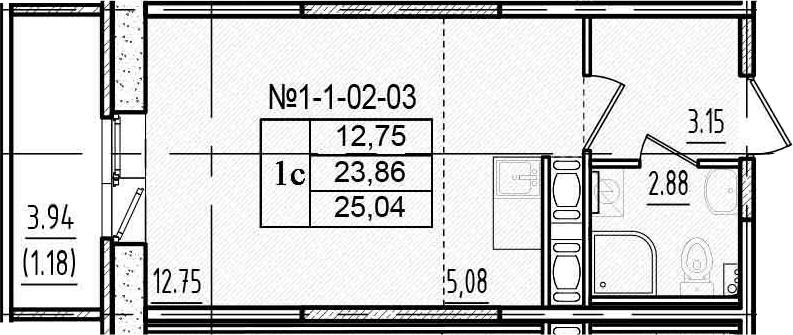 Студия, 27.79 м²