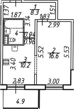 1-к.кв, 43.5 м²