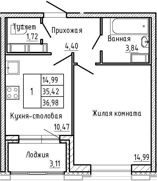 1-к.кв, 36.98 м²