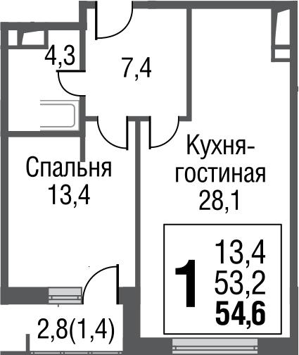 2-к.кв (евро), 56 м²