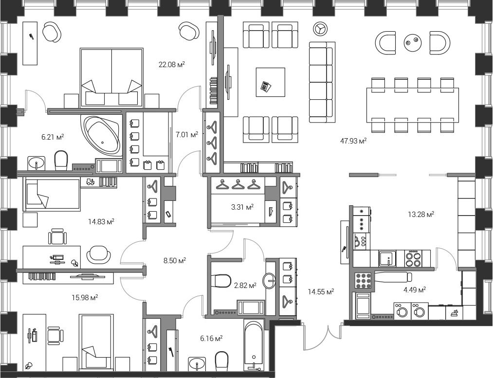 4Е-комнатная, 167.21 м²– 2