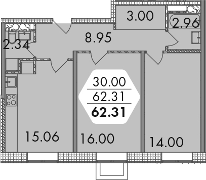 2-к.кв, 62.31 м²