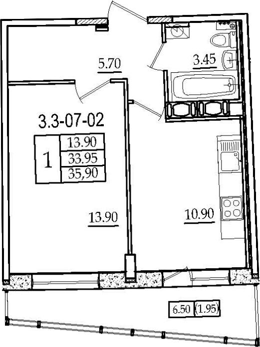 1-к.кв, 35.9 м², 7 этаж