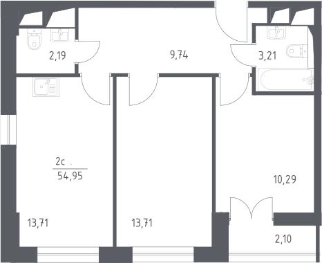 3Е-комнатная, 54.95 м²– 2
